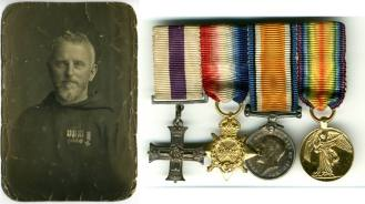 Photographic print of Fr. Ignatius Collins OFM Cap. (1885-1961), an Irish Capuchin priest, and the medals awarded to him for his service as a chaplain during the First World War. Courtesy of the Irish Capuchin Provincial Archives